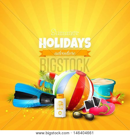 Summer Holidays Adventure. Beach ball sunglasses palm leaves diving fins flip-flops and bucket on orange background. Summer vacation concept