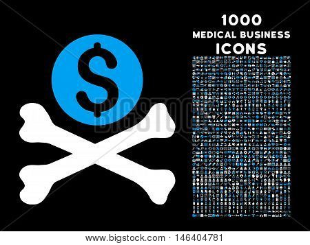 Mortal Debt vector bicolor icon with 1000 medical business icons. Set style is flat pictograms blue and white colors black background.