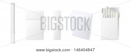 white filter cigarette and pack of cigarettes with blank space. Blank copy space for package design and advertising - Realistic photo image. Smoking set isolated on white background with clip path.