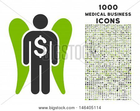 Angel Investor vector bicolor icon with 1000 medical business icons. Set style is flat pictograms eco green and gray colors white background.