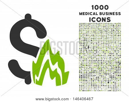 Fire Disaster vector bicolor icon with 1000 medical business icons. Set style is flat pictograms, eco green and gray colors, white background.