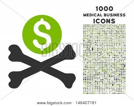 Mortal Debt vector bicolor icon with 1000 medical business icons. Set style is flat pictograms eco green and gray colors white background.