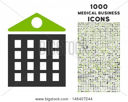 Multi-Storey House vector bicolor icon with 1000 medical business icons. Set style is flat pictograms eco green and gray colors white background.