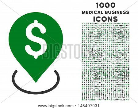 Bank Placement vector bicolor icon with 1000 medical business icons. Set style is flat pictograms, green and gray colors, white background.