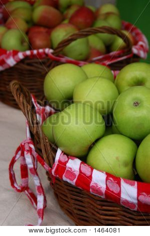 Baskets Of Apples With Checkered Fabric