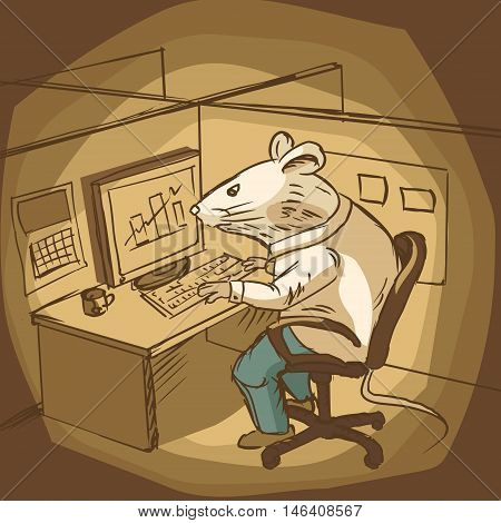 Mouse work at office. Colorful hand drawn sketch. Cartoon vector illustration