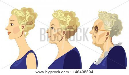 woman's face in different periods of life in profile, young girl, middle-aged woman, elderly woman
