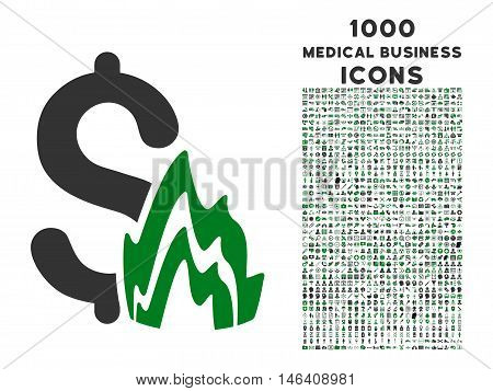 Fire Disaster vector bicolor icon with 1000 medical business icons. Set style is flat pictograms, green and gray colors, white background.