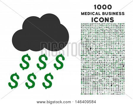 Money Rain vector bicolor icon with 1000 medical business icons. Set style is flat pictograms green and gray colors white background.