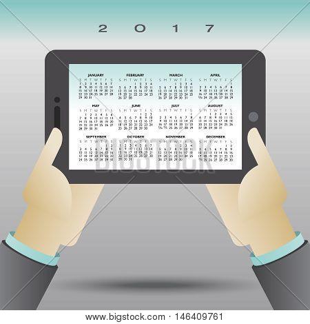 2017 creative computer tablet calendar for print or web