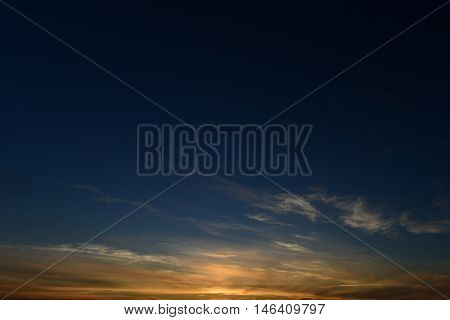 Cloudless clear blue sky summer sunset in evening