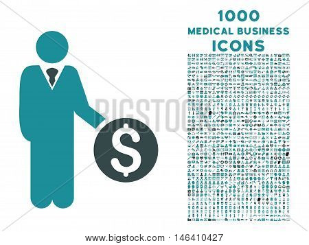 Banker vector bicolor icon with 1000 medical business icons. Set style is flat pictograms soft blue colors white background.