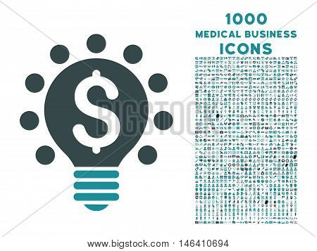 Business Patent Bulb vector bicolor icon with 1000 medical business icons. Set style is flat pictograms soft blue colors white background.