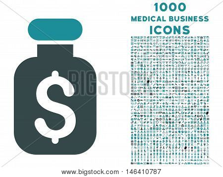 Business Remedy vector bicolor icon with 1000 medical business icons. Set style is flat pictograms soft blue colors white background.