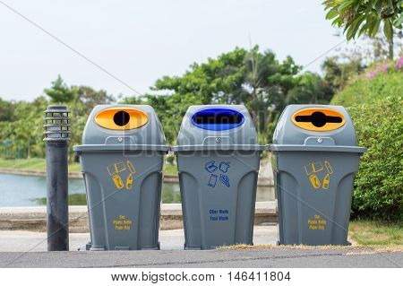 Bins For Collection Of Recycle Materials In Park