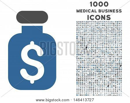 Business Remedy vector bicolor icon with 1000 medical business icons. Set style is flat pictograms cobalt and gray colors white background.
