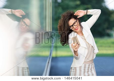 Woman Selfies In Bussines World