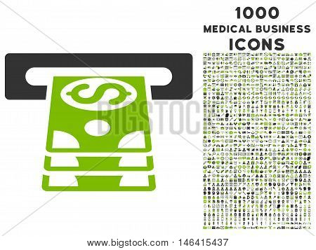 Bank Cashpoint glyph bicolor icon with 1000 medical business icons. Set style is flat pictograms eco green and gray colors white background.