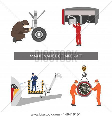 Repair and maintenance of aircraft . Set of aircraft parts in flat style on white background. Vector illustration