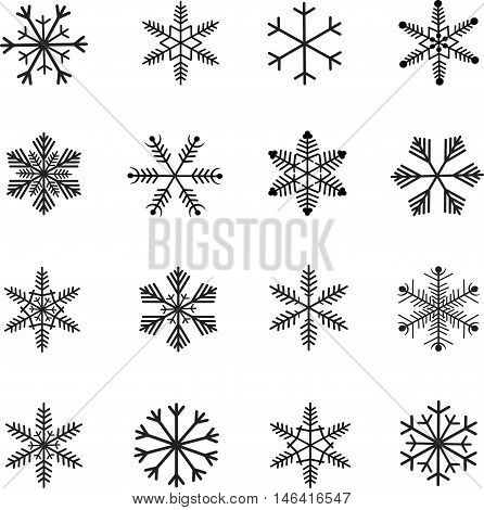 Snow-flakes icon set, black and white vector illustration