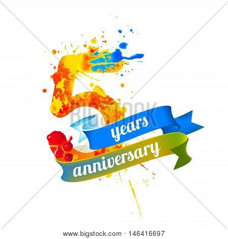5 (five) years anniversary. Vector watercolor splash paint