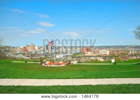 Aerial View Of Cincinnati Ohio And Covington Kentucky From Devoe Park