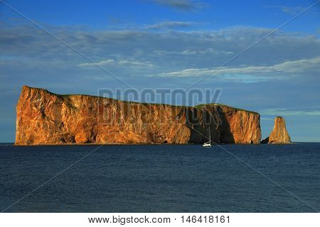 Beautiful view of The Rocher Perce in Perce city, gaspesie in Quebec province.