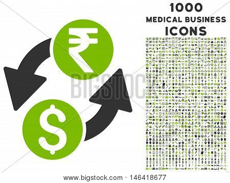 Dollar Rupee Exchange glyph bicolor icon with 1000 medical business icons. Set style is flat pictograms eco green and gray colors white background.