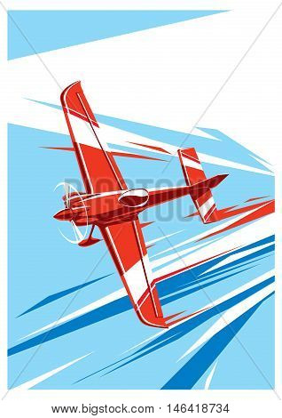 Vector red sport plane with propeller in fly. small airplane