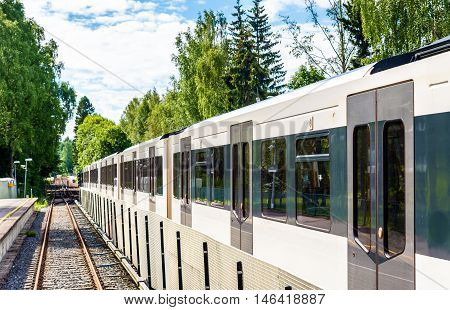 Metro train at Sognsvann Station in Oslo, Norway