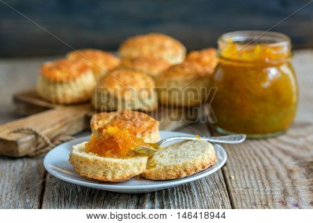 Scone With Homemade Orange Jam.