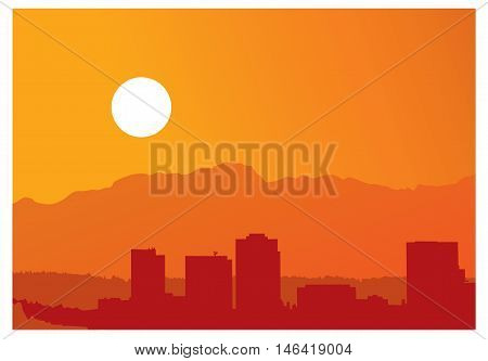 Vector illistration of a City skyline at sunset