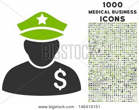 Financial Policeman glyph bicolor icon with 1000 medical business icons. Set style is flat pictograms eco green and gray colors white background.