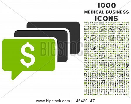 Money Messages glyph bicolor icon with 1000 medical business icons. Set style is flat pictograms eco green and gray colors white background.