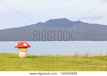 The decorated mushroom vents with blurred Rangitoto Island background Auckland New Zealand.