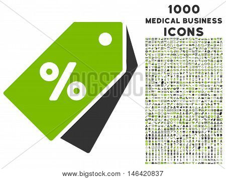 Percent Discount Tags glyph bicolor icon with 1000 medical business icons. Set style is flat pictograms eco green and gray colors white background.