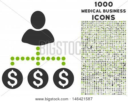 User Payments glyph bicolor icon with 1000 medical business icons. Set style is flat pictograms eco green and gray colors white background.