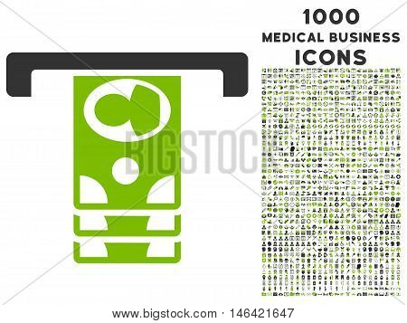 Withdraw Banknotes glyph bicolor icon with 1000 medical business icons. Set style is flat pictograms eco green and gray colors white background.