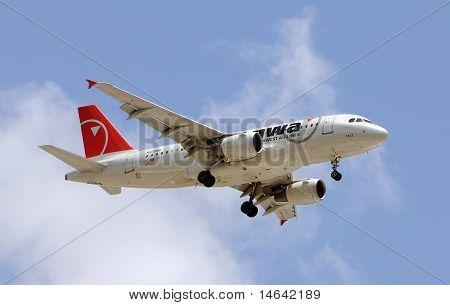 Northwest Airlines Airplane In Flight