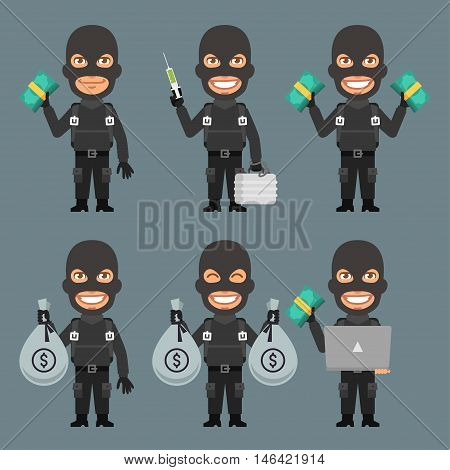 Vector Illustration, Robber Holds Money Suitcase Laptop, Format EPS 8