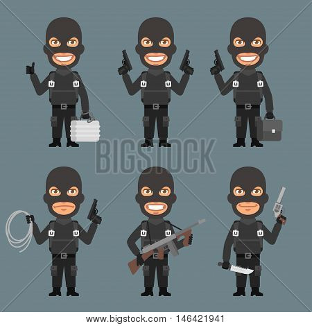 Vector Illustration, Robber Holds Weapons Suitcase Rope, Format EPS 8