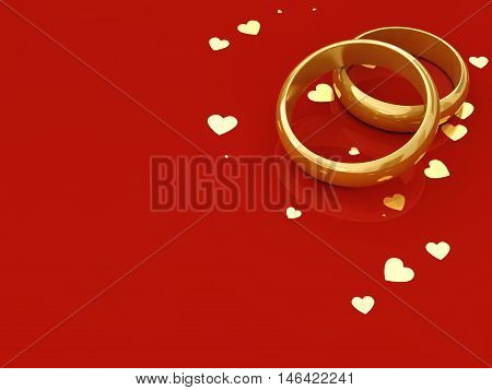 Golden wedding rings and hearts on red background with copy space , Wedding , 3d illustration