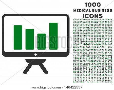 Bar Chart Monitoring glyph bicolor icon with 1000 medical business icons. Set style is flat pictograms green and gray colors white background.