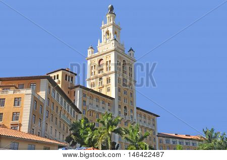 CORAL GABLES MIAMI FL USA  10 29, 2012: The historic Spanish style Biltmore Hotel built in 1925 in Coral Gables. Miami Biltmore Hotel & Country Club was designated a National Historic Landmark in 1996