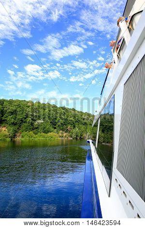 Side View Of A Boat, Beautiful Landscape. Lake Te Anau, New Zealand