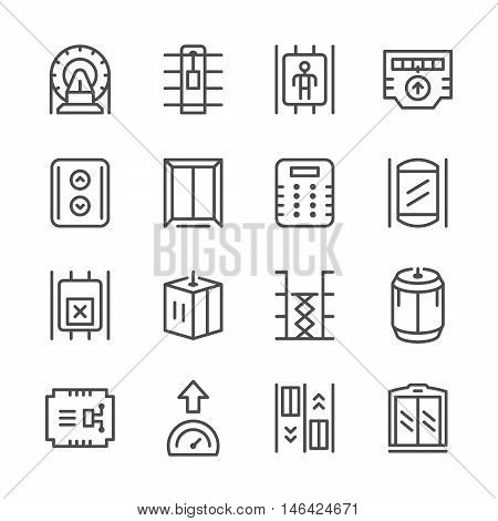 Set line icons of elevator isolated on white. Vector illustration
