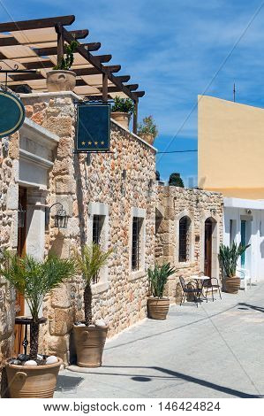 Old stone traditional countryside tavern in greek village Crete Greece