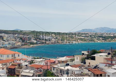 Panoramic view of Rethymno bay from the ancient fort Crete Greece