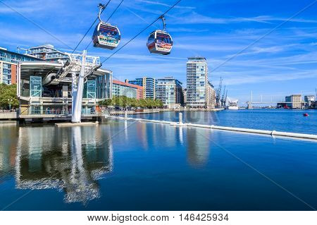 London UK - August 26 2016 - The Emirate Air Line or Thames Cable Car at sunset