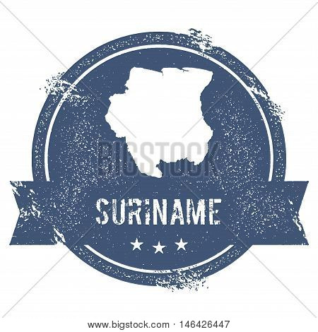 Suriname Mark. Travel Rubber Stamp With The Name And Map Of Suriname, Vector Illustration. Can Be Us